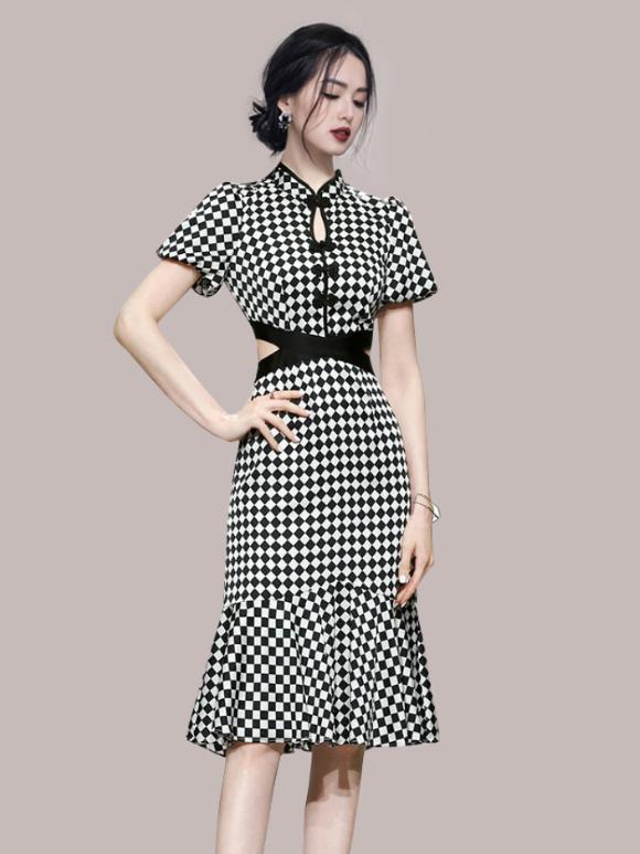 Summer Plaid Hollow Out Short Sleeve Ruffles Dress