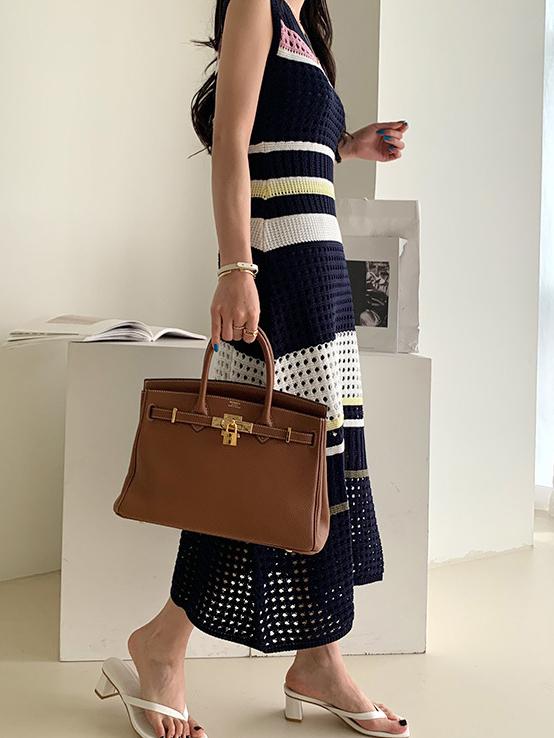 Chic Summer Contrast Color 2 Piece Maxi Dress