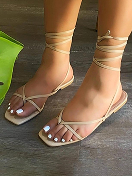 Lace Up Square Toe Flat Sandals