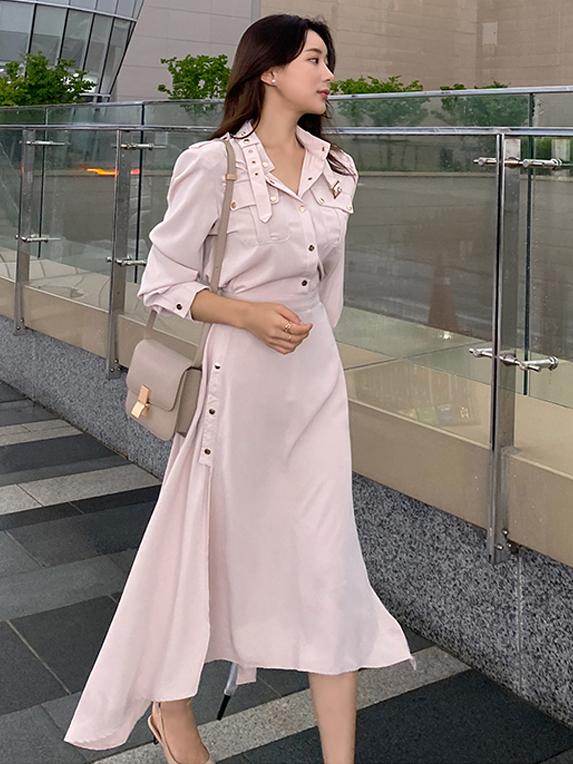 Stylish Solid Button Up Long Sleeve Midi Dress