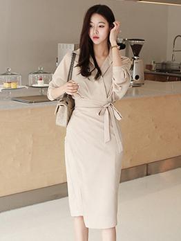 Elegant Apricot Lace Up Long Sleeve Dress