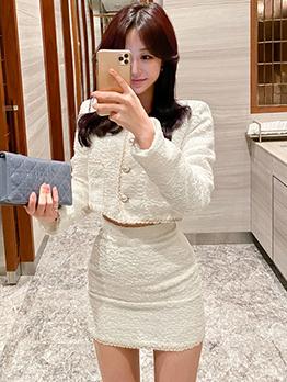 Lovely Long Sleeve Top And Short Skirt Set