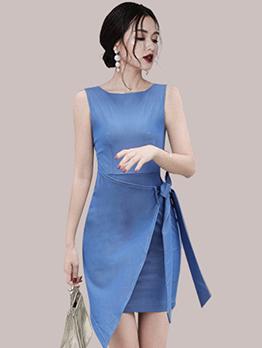 Chic Asymmetrical Hem Bow Sleeveless Summer Dress