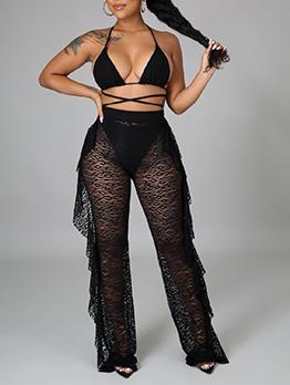 Sexy Black Beach Wear Bikini Set With Pants