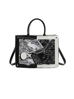 Fashion Patchwork Contrast Color Black Tote Shoulder Bag