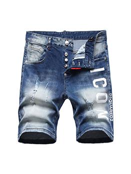Fashion Summer Letter Pattern Men Denim Half Pants