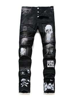 Trendy Punk Style Black Jeans For Men