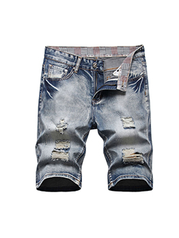 Distressed Hollow Out Straight Denim Half Pants