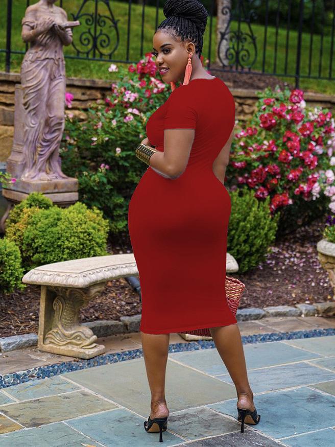 V Neck Solid Simple Bodycon Short Sleeve Dress