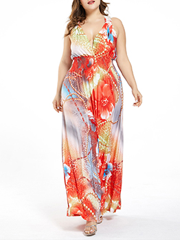 Bohemian Plus V Neck Printed Sleeveless Maxi Dress