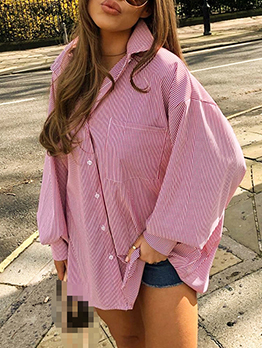 Loose Casual Striped Long Sleeve Blouse Women