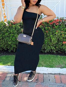 Inclined Shoulder Casual Solid Maxi Sheath Dress
