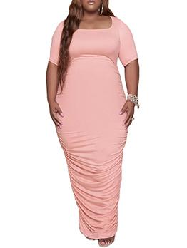 U Neck Solid Ruched Plus Size Maxi Dress