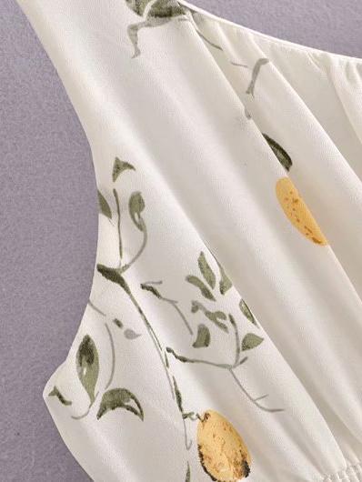 French Style Printing V Neck Sleeveless Midi Dress