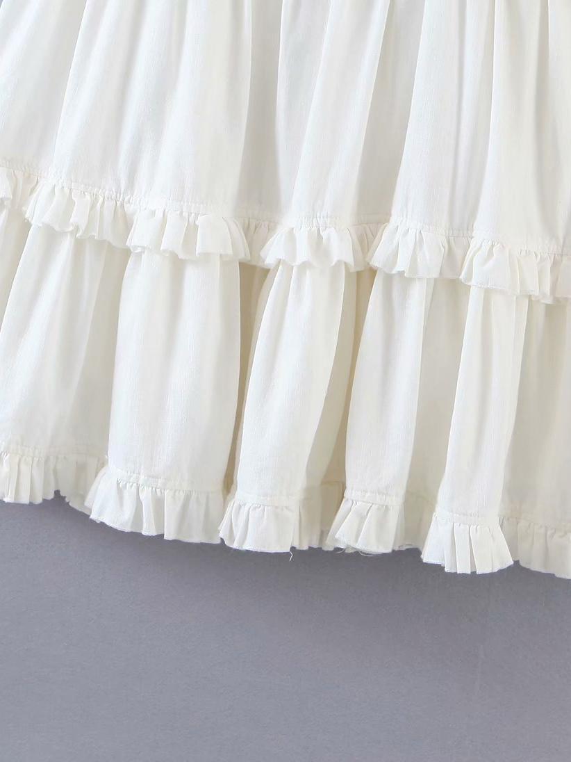 Sweet White Simple Ruffled Sleeveless Mini Dresses