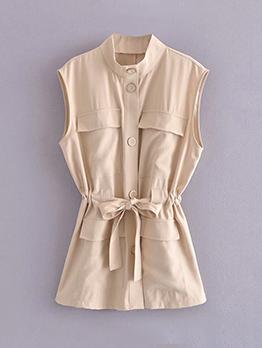 British Style Casual Solid Sleeveless Jacket