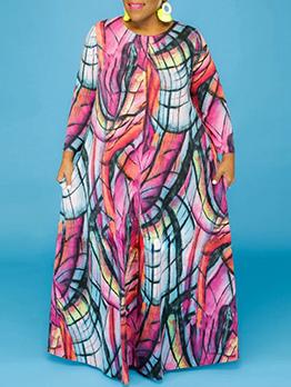 Colorful Print Long Sleeve Plus Size Maxi Dress