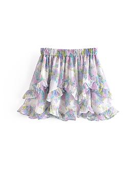 New Arrival Fresh Print Ruffled Skirt For Summer