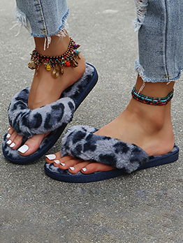 New Leopard Faux Fur House Womens Slippers