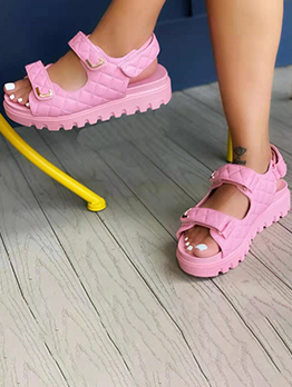 New Plaid Wedges Sandals For Women