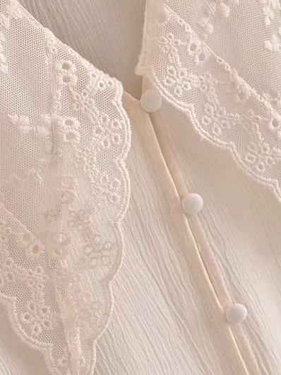 Embroidered Turndown Collar Vintage Women Blouse