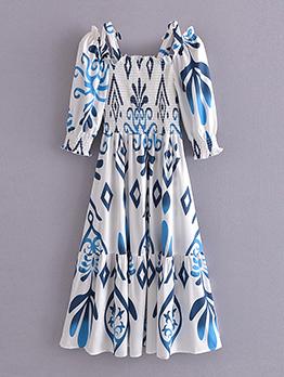 Chic Print Square Neck Half Sleeve Midi Dress