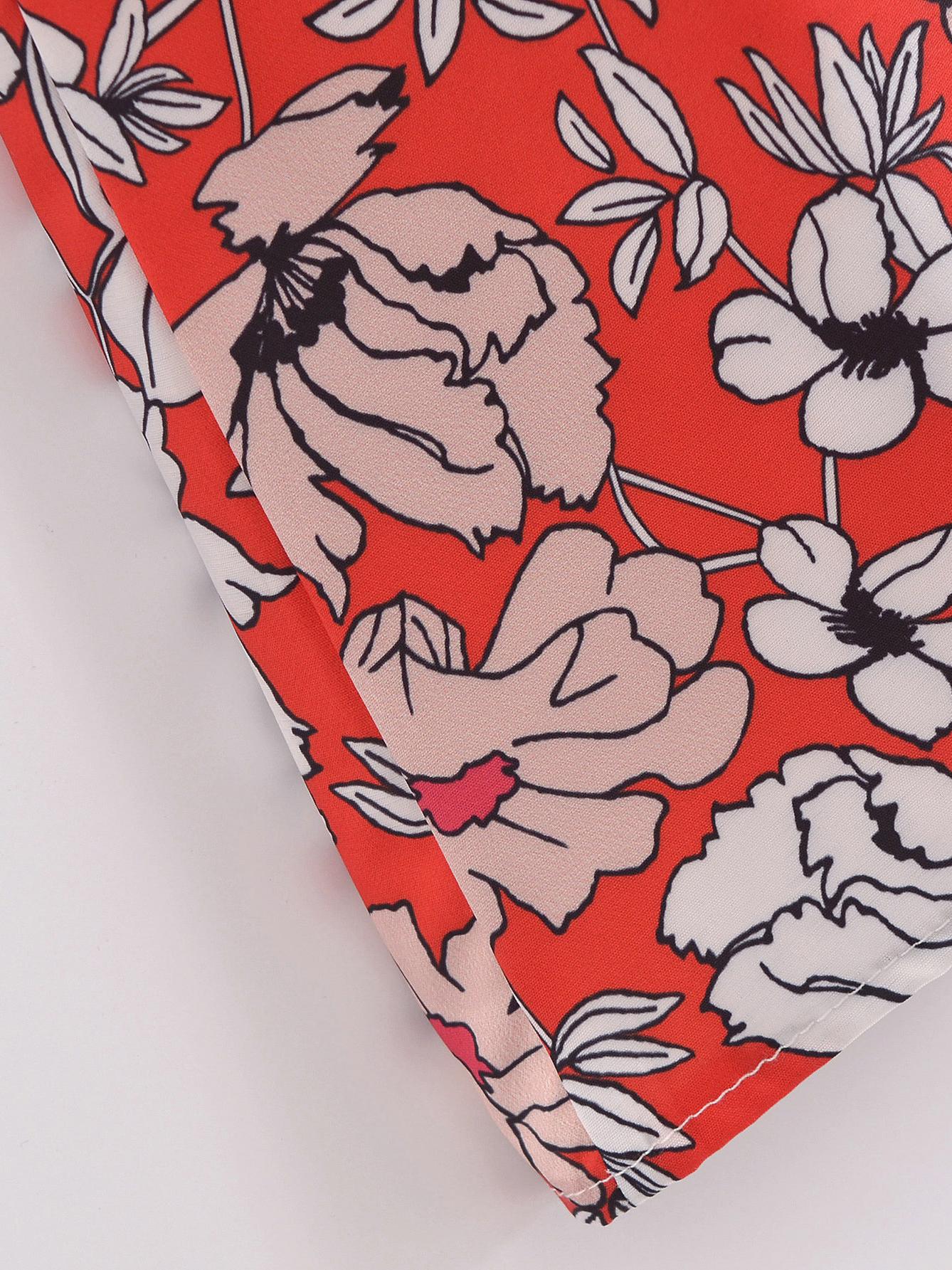 French Print Tie-Wrap Short Sleeve Midi Dress
