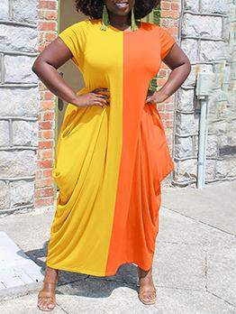 Contrast Color Loose Short Sleeve Women Maxi Dress