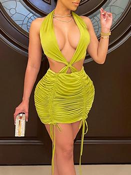 Nightclub Backless Halter Bodycon Dresses For Ladies