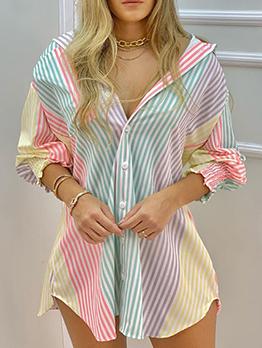 Summer Long Sleeve Striped Blouse Short Dress
