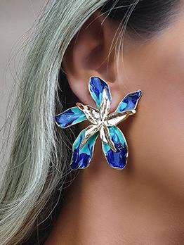 Flower Shape Personality Casual Stud Earrings