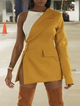 Chic Contrast Color One Shoulder Tie-Wrap Blouse