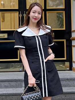 Chic Sailor Collar Short Sleeve Dress For Ladies