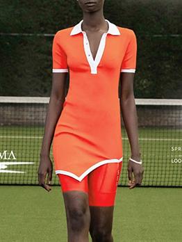 Alluring Contrast Color Irregular Hem Short Sleeve Dress