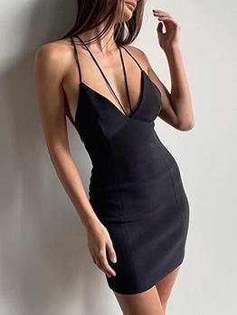 Alluring Plain Black V Neck Sleeveless Dress