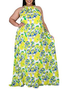 Loose Sleeveless Print Plus Size Maxi Dress