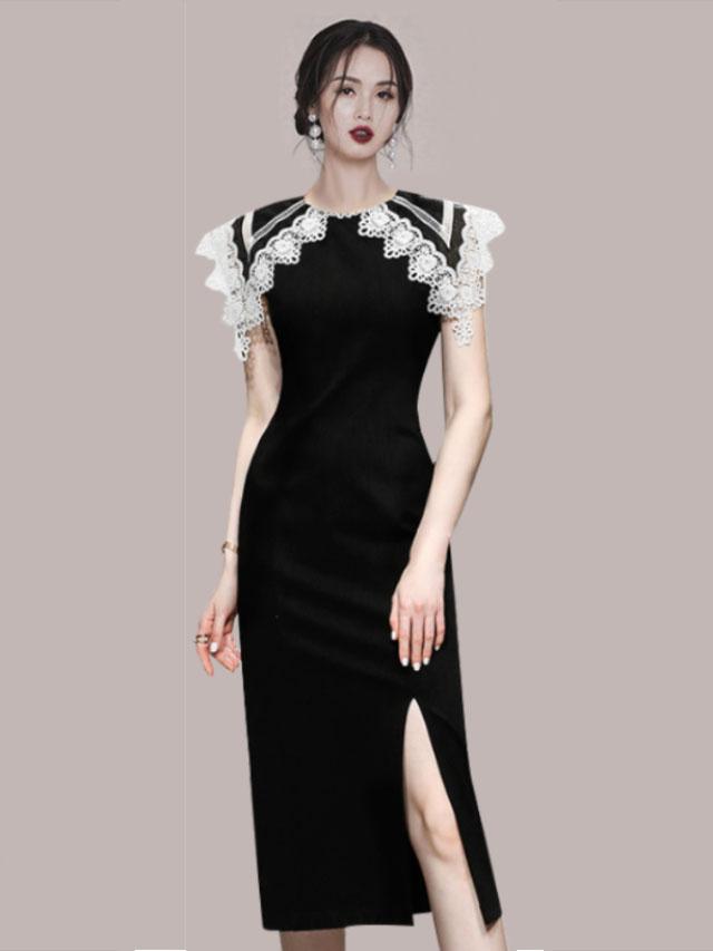 Elegant Patchwork Crew Collar Slit Sleeveless Midi Dress