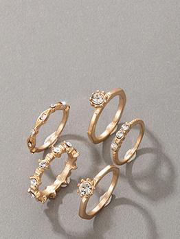 Vintage Rhinestone Unisex 5 Piece Ring Sete