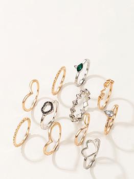 Unisex Designer Water Drop Heart Rhinestone Ring Sets
