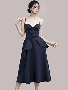 Spaghetti Strap Sweetheart Collar Patchwork Midi Party Dress