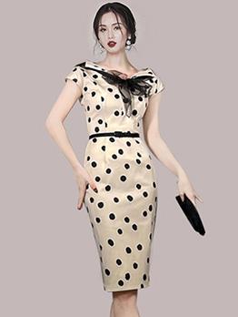 OL Style Dot Patchwork Cap Sleeve Midi Dress