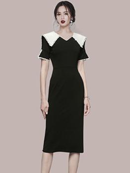 Elegant Fitted Patchwork Zipper Up Midi Dress