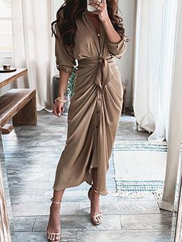 Fashion Solid Single-Breasted Short Sleeve Maxi Dress