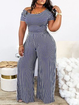 Fashion Casual Striped Women Plus Size Two Pieces Set
