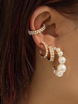 Adorable Full Faux-Pearl Alloy Geometry Golden Earring