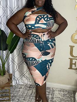Geometry Print Plus Size Sheath Two Pieces Skirt Set