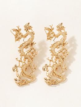 Chinese Dragon Shape Domineering Golden Earring