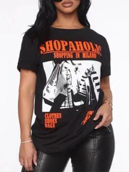 Crew Neck Plus Size Black Short Sleeve T-Shirt