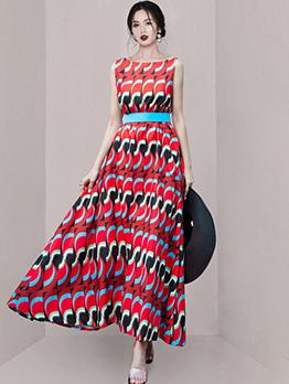 Attractive Print Sleeveless Maxi Dress With Belt