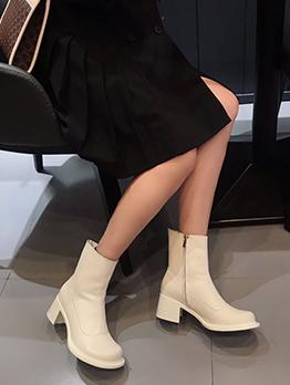 British Style Versatile Vintage Solid Zipper Ankle Boots